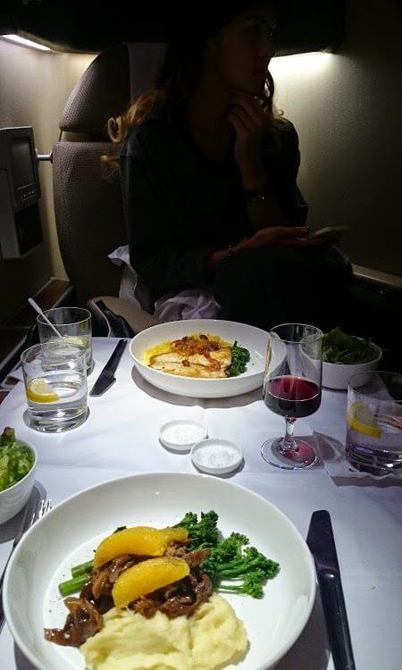 qantas first class dinner