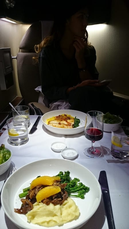 qantas first class dinner