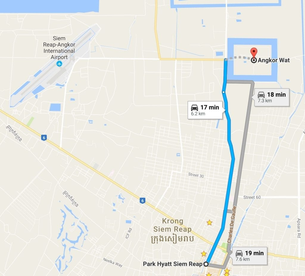 Park Hyatt Siem Reap to Angkor Wat  Krong Siem Reap  Cambodia   Google Maps 1024x928 - GUIDE - Touring the Temples of Siem Reap