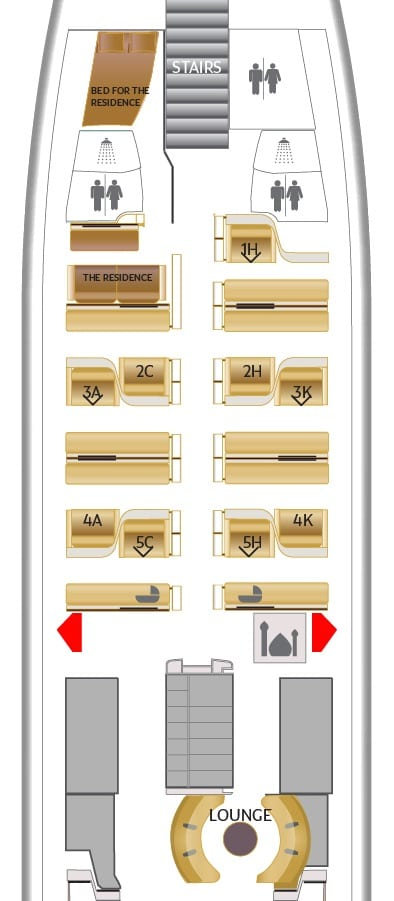 EY A380 F seatmap - SECOND REVIEW - Etihad : First Class Apartments - Abu Dhabi AUH to London LHR (A380)