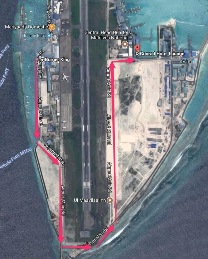 Burger King to Conrad Hotel Lounge   Google Maps - REVIEW - Conrad Maldives : Seaplane Lounge MLE [Morning]