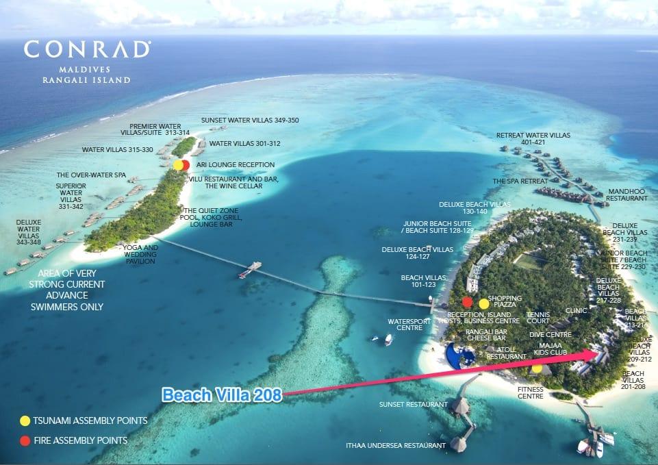 Beach Villa Map - GUIDE - A comparison between the Main Island and Quiet Island at the Conrad Maldives