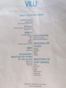 Vilu menus 7 225x300 - GUIDE - Eating and Drinking at the Conrad Maldives