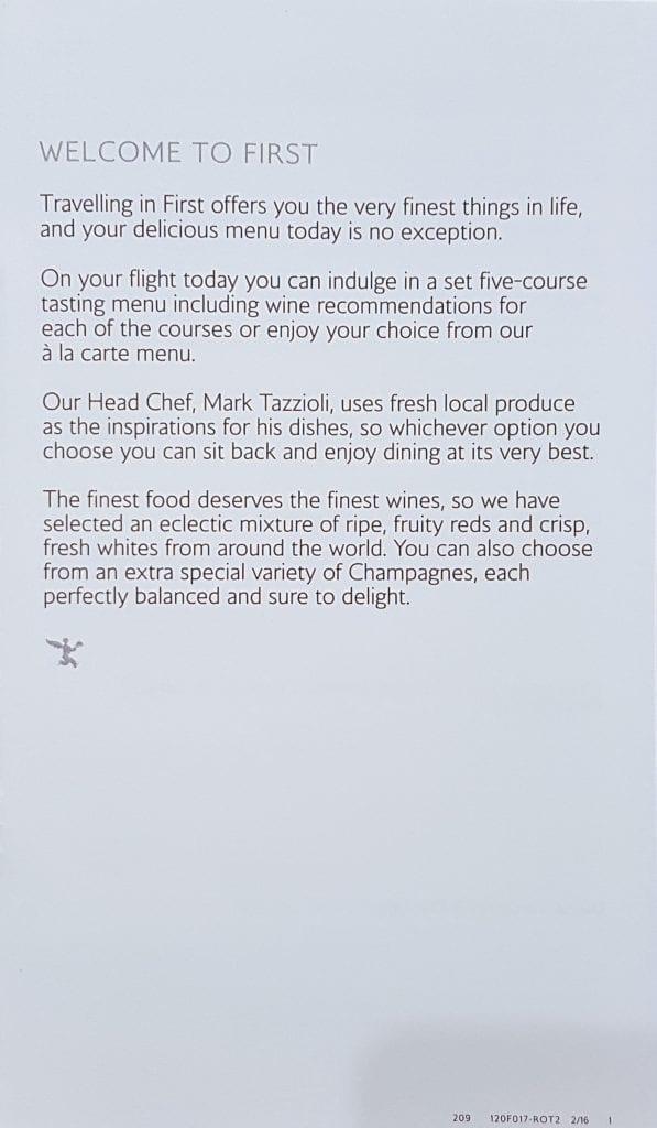 BA A380 F menu 1 597x1024 - REVIEW - British Airways : First Class - London to Miami (A380)