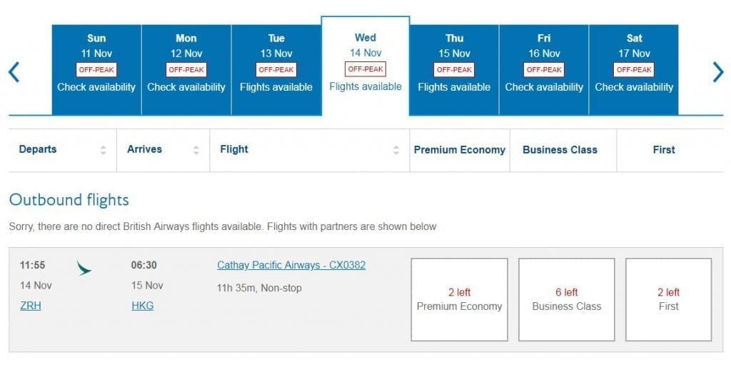 British Airways CX availability 1024x511 - The joys of Alaska Miles: CX Business Class from ZRH to HKG for £675 one-way!