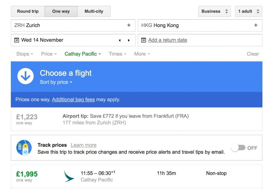 Flights from Zurich to Hong Kong – Google Flights 1024x725 - The joys of Alaska Miles: CX Business Class from ZRH to HKG for £675 one-way!
