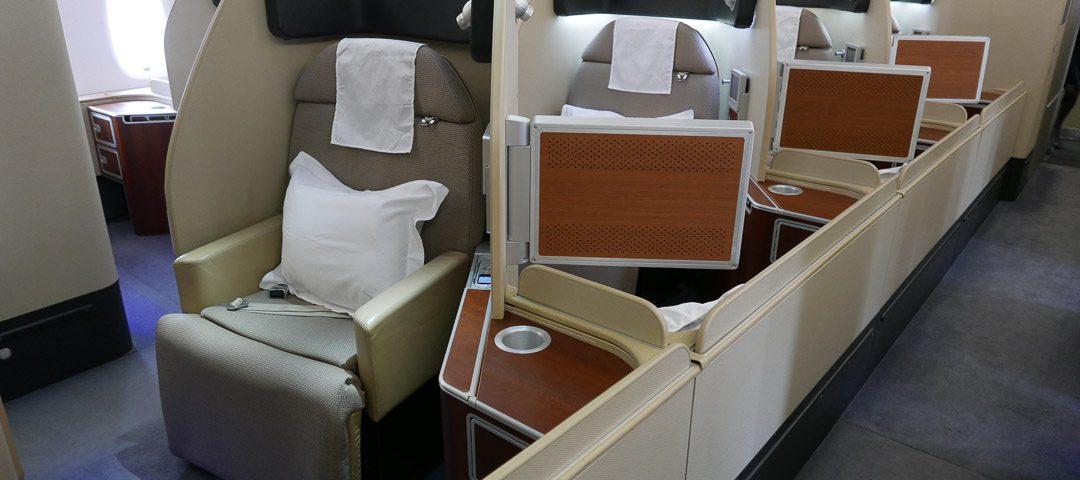 qf f cabin 1 1080x480 - REVIEW - Qantas : First Class - London LHR to Dubai (A380)