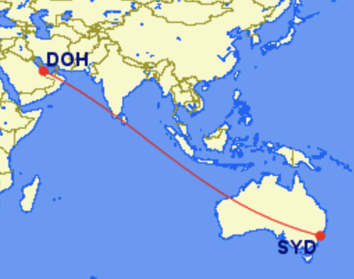 doh syd e1614417264447 - REVIEW - Qatar Airways : Business Class - Doha DOH to Sydney SYD (A380)