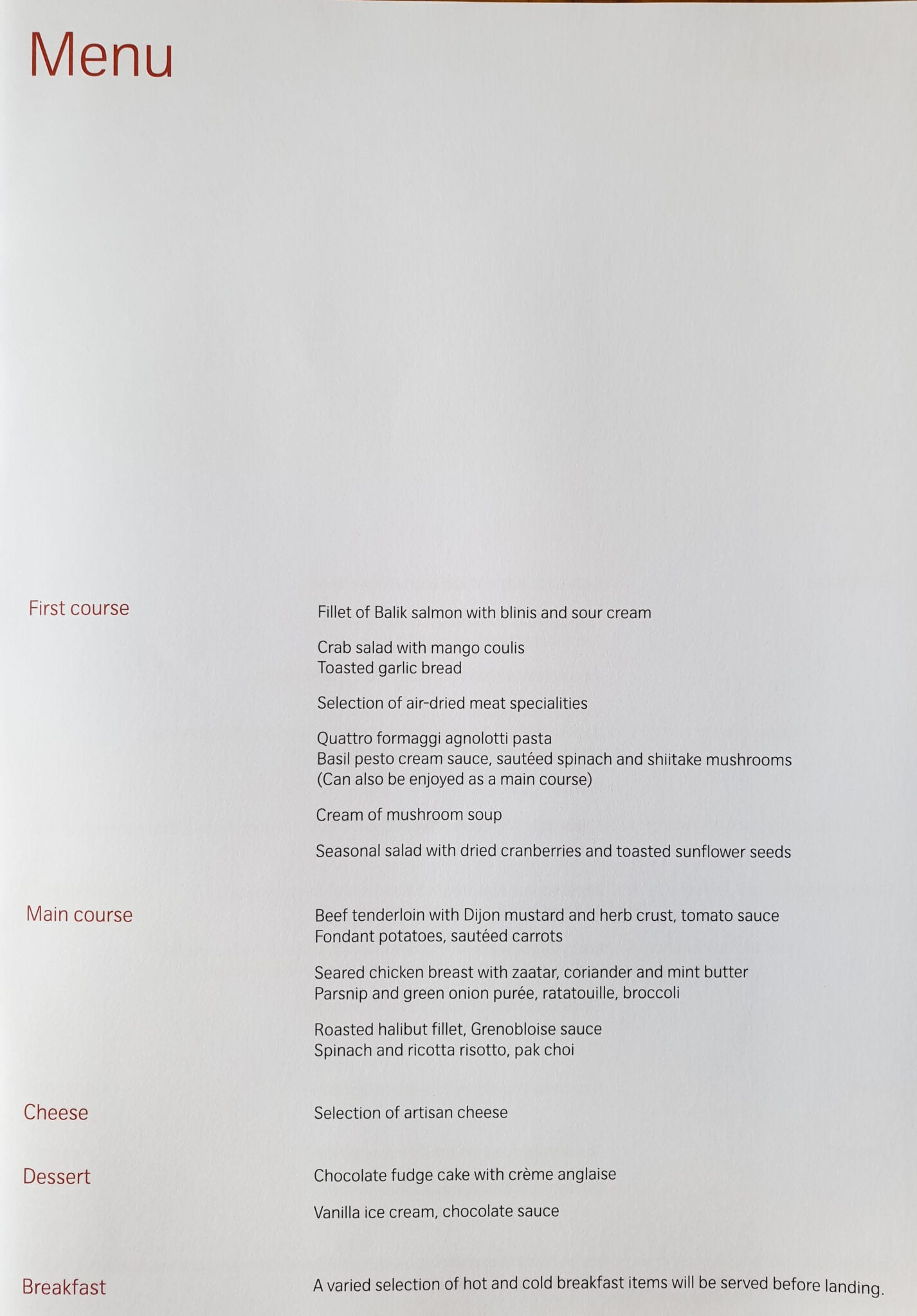 lx f menu yul zrh 2 - REVIEW - SWISS : First Class - Montreal YUL to Zurich ZRH (B777)