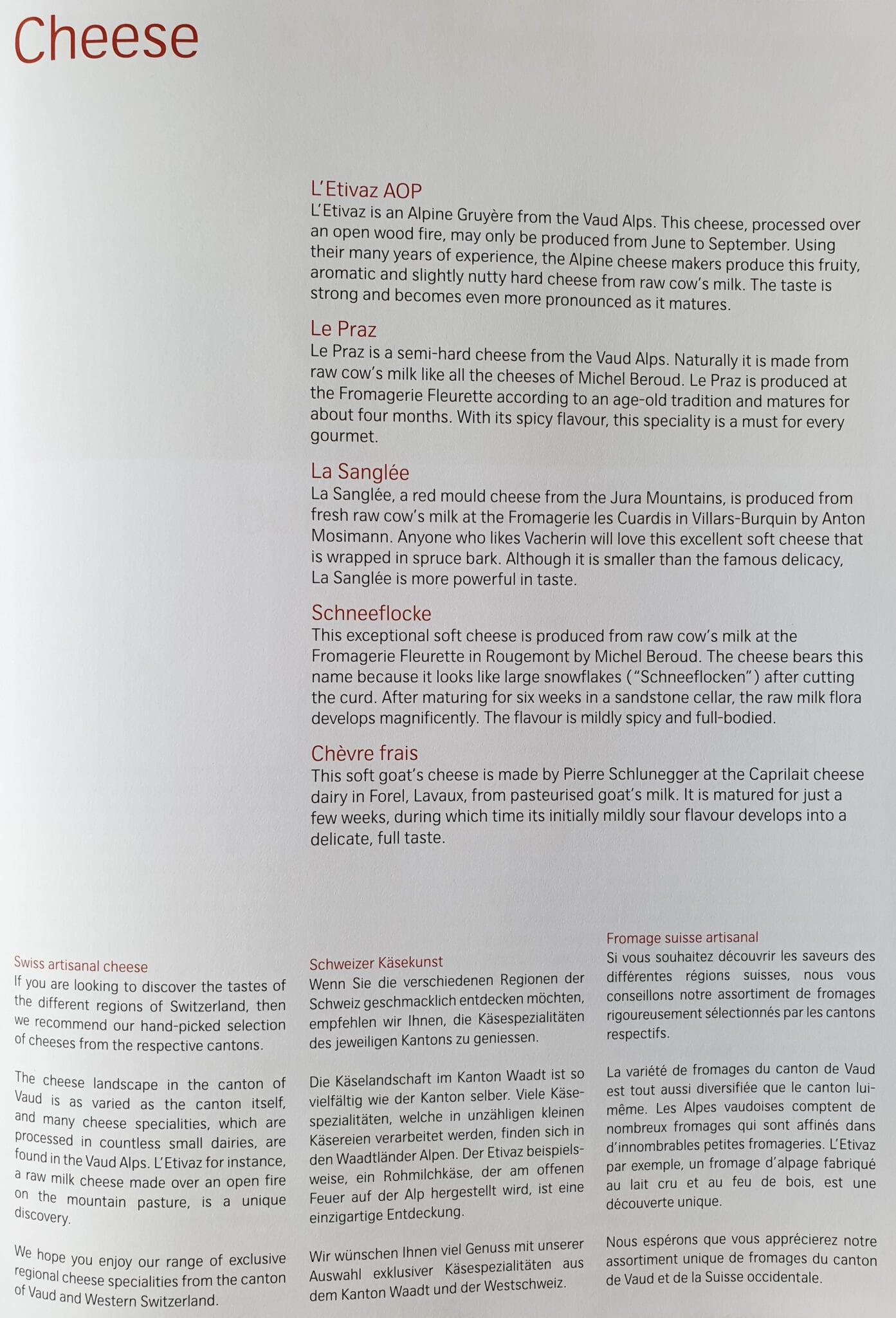 lx f menu yul zrh 3 - REVIEW - SWISS : First Class - Montreal YUL to Zurich ZRH (B777)