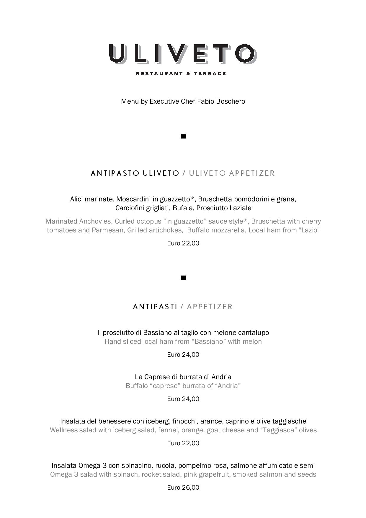 Uliveto food page 001 1 - REVIEW - Rome Cavalieri a Waldorf Astoria Hotel : Premium Rome View Room [COVID-era]