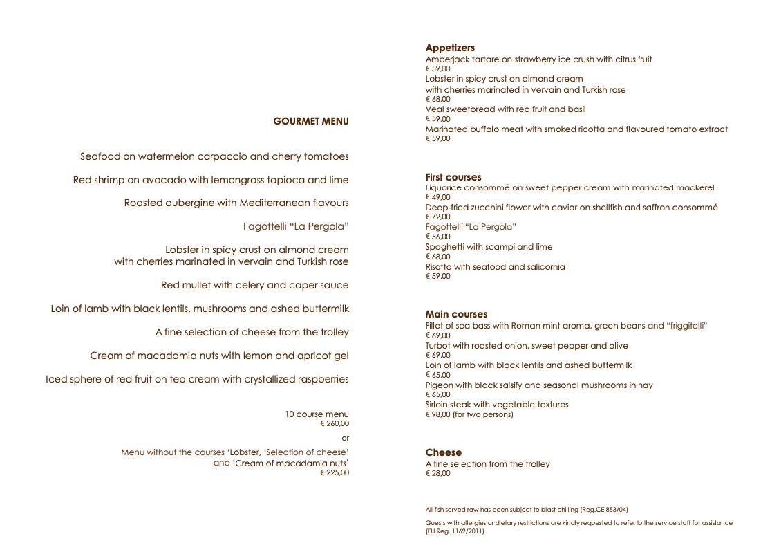 pergola menu - REVIEW - Rome Cavalieri a Waldorf Astoria Hotel : Premium Rome View Room [COVID-era]