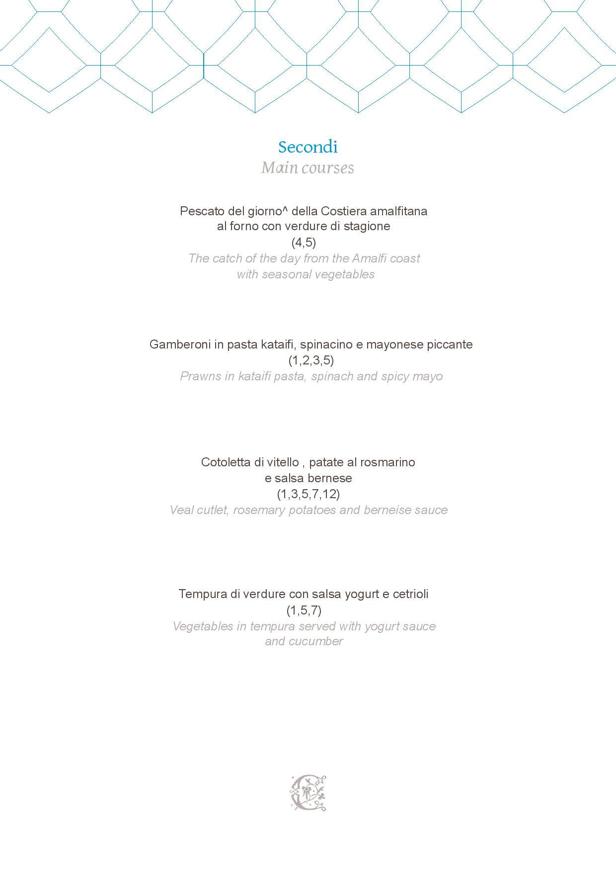 Dei Cappuccini MENU luglio 2020 half board page 003 - REVIEW - NH Collection Grand Hotel Convento di Amalfi : Junior Suite with Tatami bed [COVID-era]