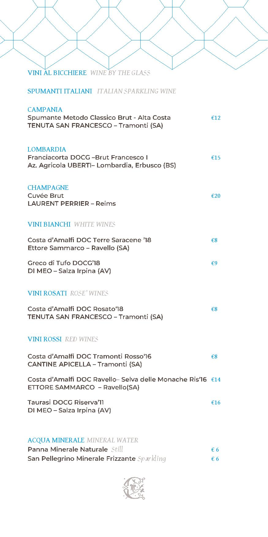 Dei Cappuccini wines menu luglio 2020 1 page 001 - REVIEW - NH Collection Grand Hotel Convento di Amalfi : Junior Suite with Tatami bed [COVID-era]
