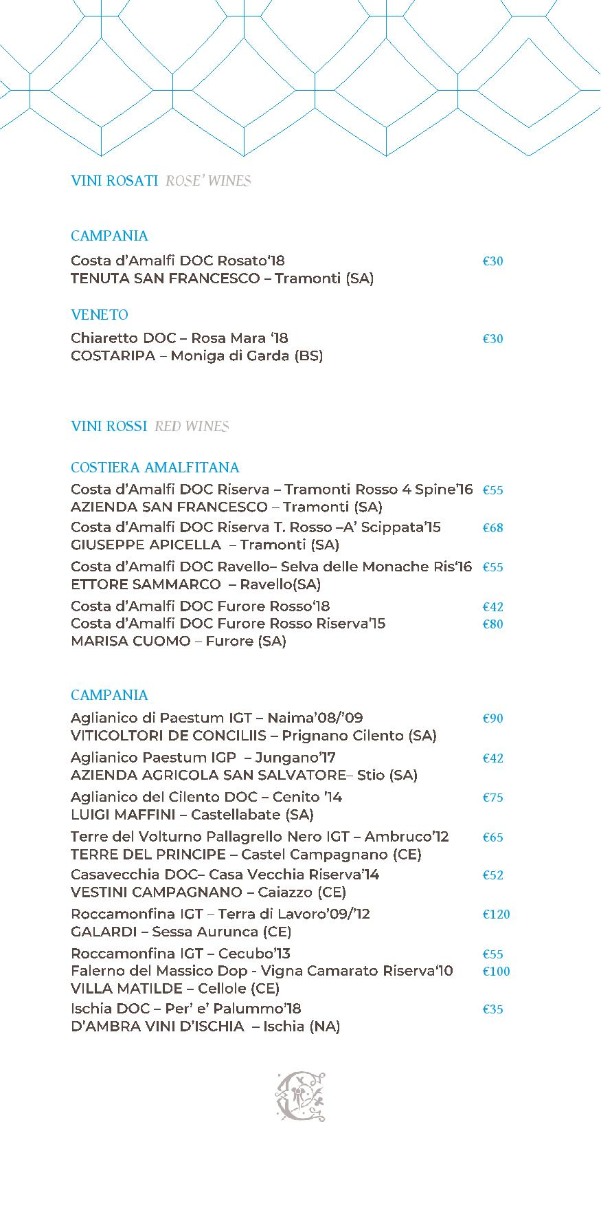 Dei Cappuccini wines menu luglio 2020 1 page 006 - REVIEW - NH Collection Grand Hotel Convento di Amalfi : Junior Suite with Tatami bed [COVID-era]