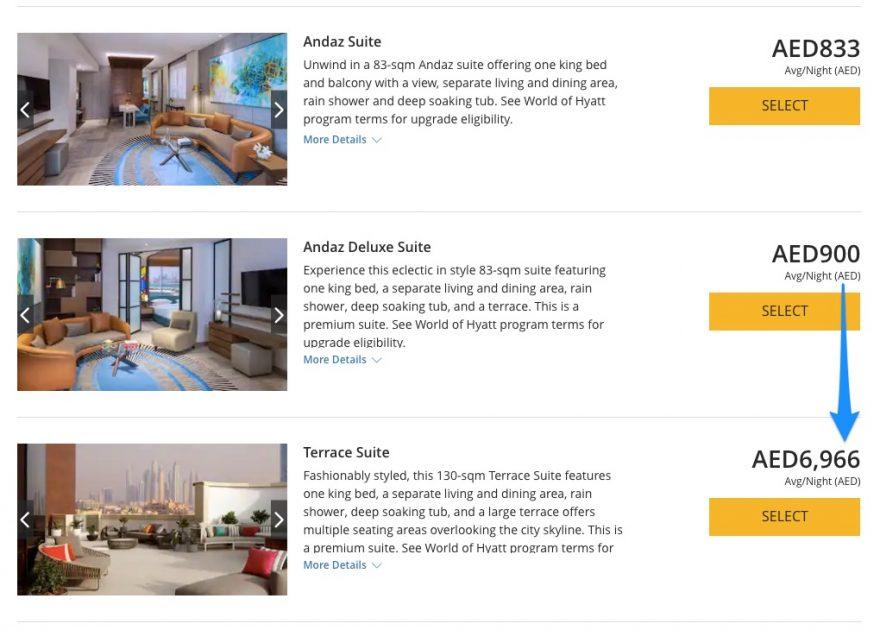 Hyatt   Select Room   Rate 880x630 - REVIEW - Andaz Dubai The Palm : Terrace Suite [COVID-era]