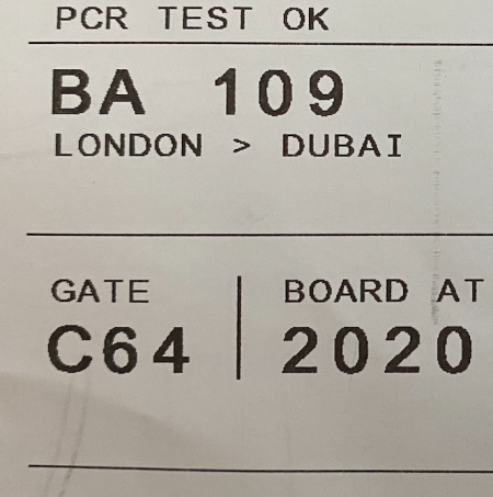 PCR test ok 450x453 - REVIEW - British Airways : Club Suites Business Class - A350 - London (LHR) to Dubai (DXB) and back - [COVID-era]