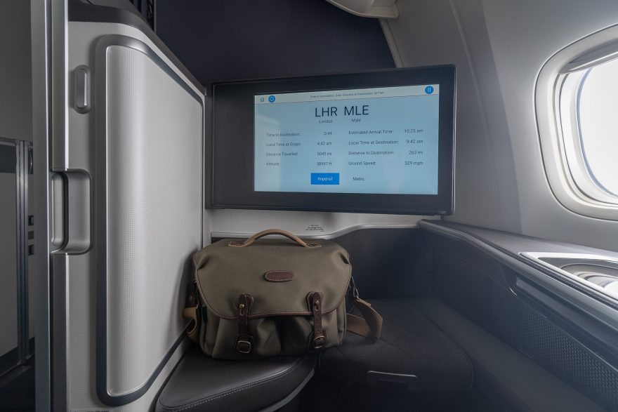 BA 77WN F 58 880x587 - REVIEW - British Airways : First Class Suites - B777 - London (LHR) to Malé (MLE) - [COVID-era]