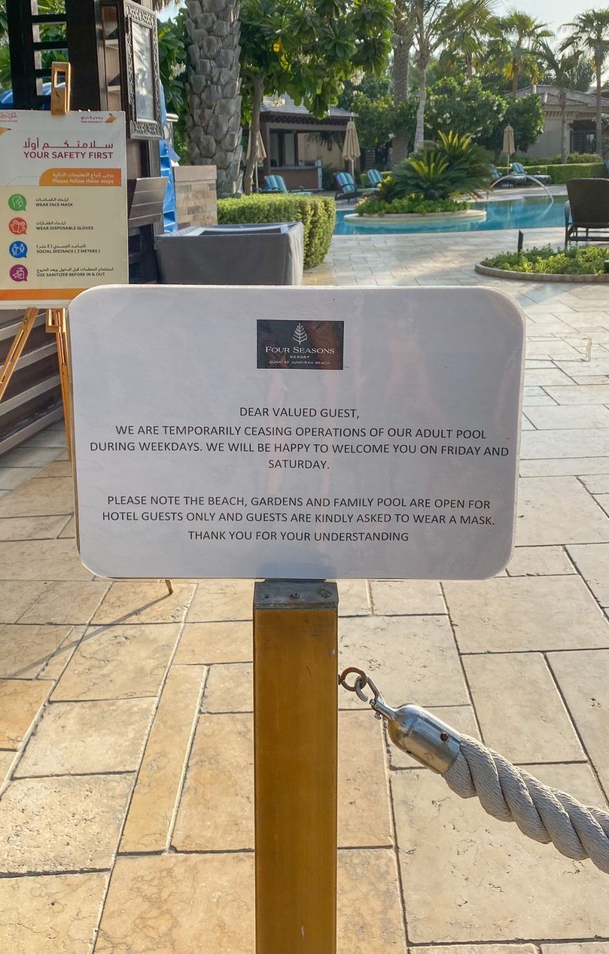 FS Jumeirah pool closed 1 880x1379 - REVIEW - Four Seasons Dubai at Jumeirah Beach : Deluxe City-View Room [COVID-era]