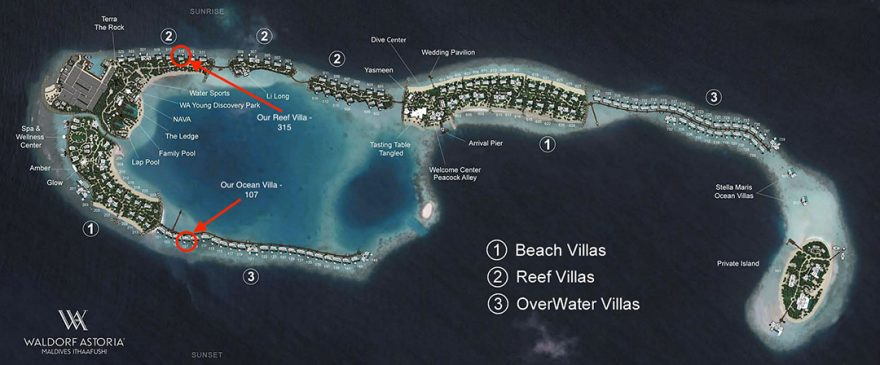 waldorf maldives map 1 880x365 - REVIEW - Waldorf Astoria Maldives Ithaafushi : King Reef Villa & King Ocean Villa