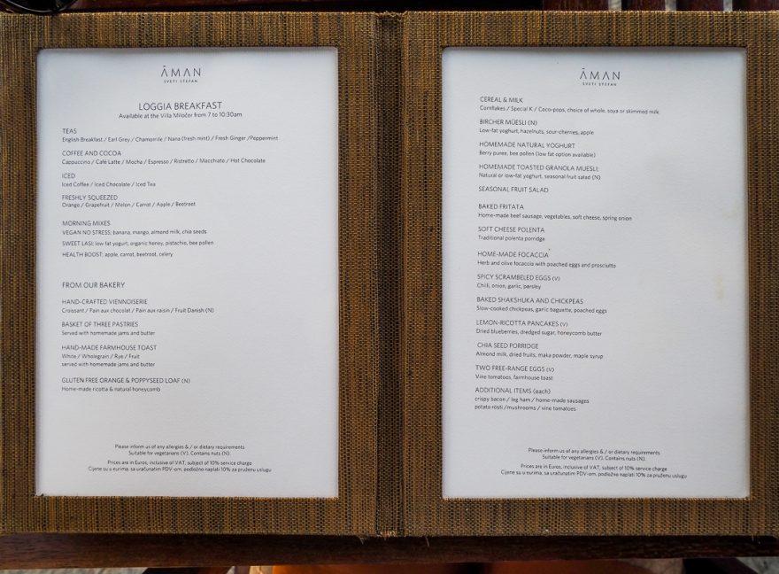 Aman Sveti Stefan menu 1 880x648 - REVIEW - Aman Sveti Stefan (Montenegro)